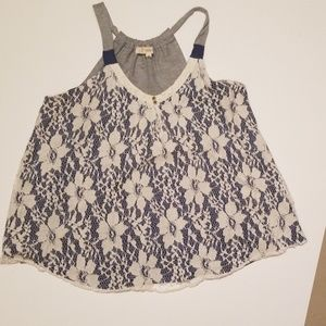 Rewind Tops - Lace front swing tank. Size lg
